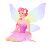 Cute sitting fairy in pink dress with wings. Vector illustration.