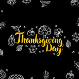 Thanksgiving Day Black Gold Postcard