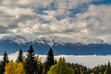 Snow covered mountains with mist and trees in the foreground.