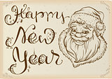 Happy New Year. Head of Santa Claus and text lettering. Template greeting card