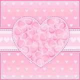 Heart of Pink Flower Petals Greeting Card