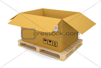 Cardboard box on pallet. Isolated