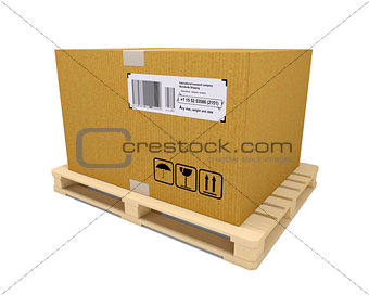 Cardboard container with wooden pallet