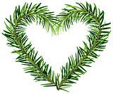 Green fir branch wreath heart shape