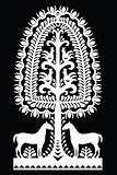 Polish monochrome folk art pattern Wycinanki Kurpiowskie