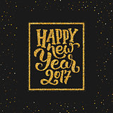 Happy New Year 2017 greetings on gold background