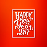 Happy New Year 2017 vector red-white greeting card