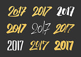 New Year 2017 hand drawn calligraphy numbers set