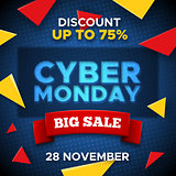 Cyber Monday promo banner vector background