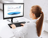 businesswoman with graphs on computer at office