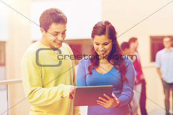 group of smiling students tablet pc computer