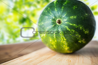 close up of watermelon on cutting board