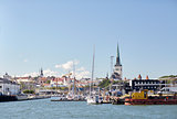 sea port harbor and old town in tallinn city