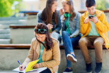 student girl suffering of classmates mockery