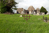 old grave cross on celtic cemetery in ireland