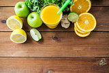 glass of orange juice, fruits and vegetables