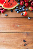 close up of fruits and berries on wooden table