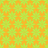 Seamless Green Stars Pattern on Yellow Backdrop