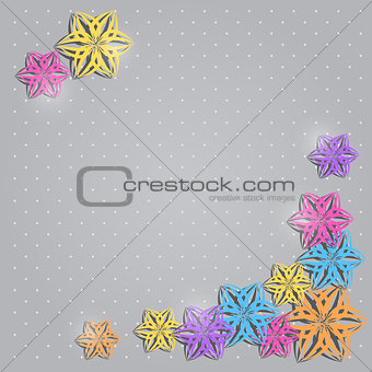 Greeting Invitation Card with Colorful Paper Flowers