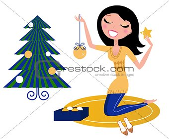 Advertising girl celebrating christmas