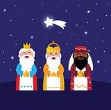 3 Wise mens follow Star : Christmas Bethlehem illustration