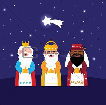 3 Wise mens follow Star : Christmas Bethlehem illustration