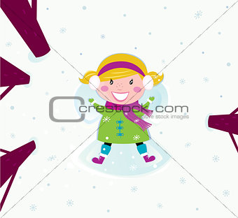 Cute Winter girl lying on Snow and making Angel
