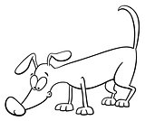 sniffing dog coloring page