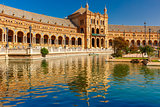 Plaza de Espana at sunny day in Seville, Spain
