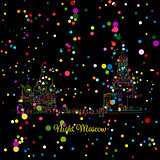 Night winter Moscow, Red Square, sketch for your design