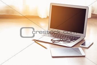 Office workplace - laptop tablet mobile phone