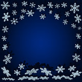 snowflakes with shadow. Blue Christmas background