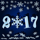 The numbers and snowflakes. New 2017