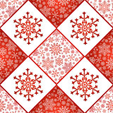 Checkered seamless pattern with snowflakes