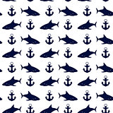 Nautical seamless background, vector illustration.