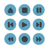 Round icons control buttons, vector illustration.