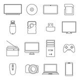 Icons digital devices, thin lines, vector illustration.