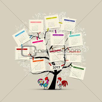 Calendar tree 2017 for your design
