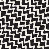 Vector Seamless Hand Drawn Wavy Diagonal Stripes Pattern