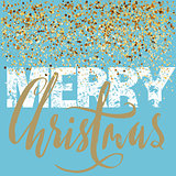 Merry Christmas grunge lettering design on blue background with golden confetti. Holiday lettering card.