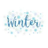 Winter. Calligraphy text and snowflakes.