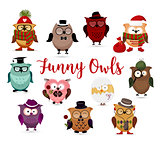 Funny owls set. Cute cartoon owls fashion costume outfits.