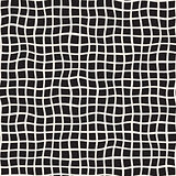 Wavy Hand Drawn Lines Square Grid. Vector Seamless Black and White Pattern.