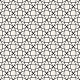 Circle Overlapping Line Lattice. Vector Seamless Black and White Pattern.