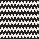 Hand Drawn Horizontal ZigZag Lines. Vector Seamless Black and White Pattern.