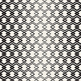 Rhombus Overlapping Lines Lattice. Vector Seamless Black and White Pattern.