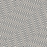 Wavy Lines Marbelling Effect. Vector Seamless Black and White Pattern.