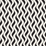 Vector Seamless Black and White Wavy Vertical Lines Pattern