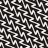 Hand Drawn Wavy Diagonal Lines. Vector Seamless Black and White Pattern.