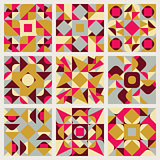 Set of Nine Vector Seamless Blue Pink Yellow White Colors Retro Geometric Ethnic Square Quilt Pattern Collection
